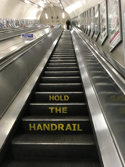 Green Park Tube Station Hold The Handrail Escalator London Sept 2017
