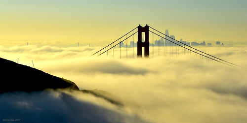 mirage lowfog sanfrancisco foginsf cityscape goldengatebridge bridge sfskyline seascape bay ngc bayarea wave ocean shore seaside coast california westcoast pacificocean landscape outdoor clouds sky water rocks mountains rollinghills sea morning sunrise summer