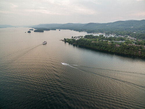 water lakegeorge aerialview drone bolton newyork unitedstates us