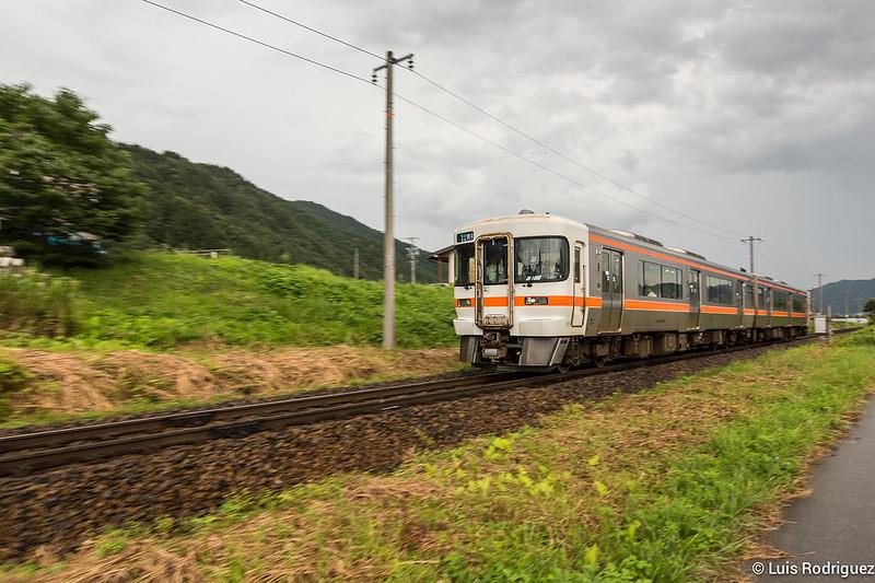 Trenes rurales en vías sin vallar en la Hida-Furukawa real