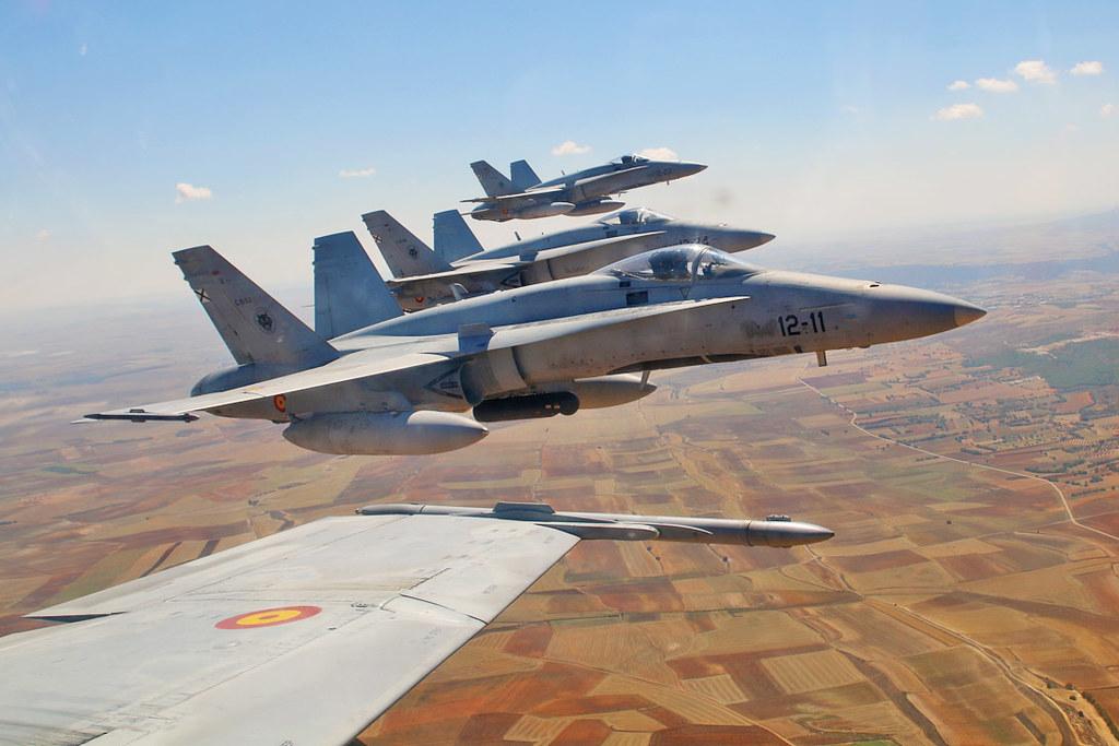 El Ala 12 de la base aérea de Torrejón está dotada con aviones F-18 de fabricación norteamericana