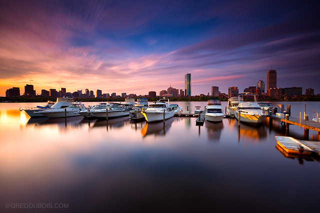 Sunrise and Clouds over Charles River, Boston Skyline, and Charles River Yacht Club - Cambridge MA USA