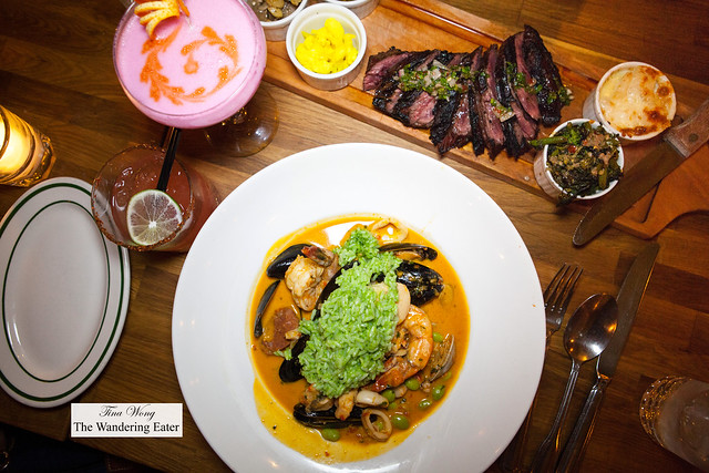 Main courses - Grilled hangar steak and Brazilian style seafood curry