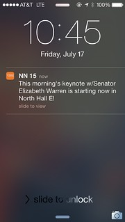 Screenshot: Getting excited to watch @SenWarren at @Netroots_Nation #NN15 | by @jozjozjoz