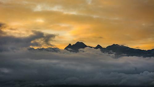 golden sunrise mountains alps grenoble montjala nikon d7100 clouds hiking silhouette colourful sky