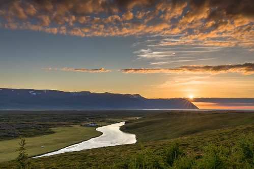 island norðurlandeystra is sunset evening mountain mountains valley water river landscape husavik iceland rural canon eos 5d mkiv clouds sky colorful