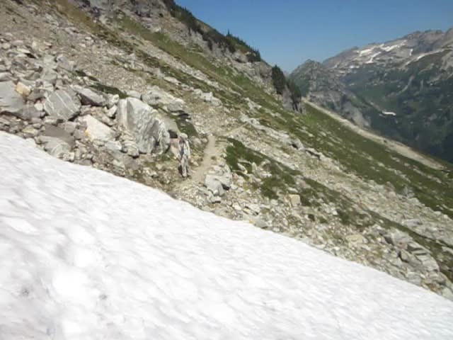 1521 Video of me carefully traversing a steep soft snow patch on the High Pass Trail