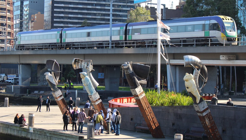 V/Line V/Locity train on viaduct between Flinders Street and Southern Cross by Daniel Bowen