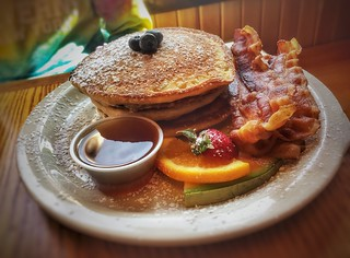 Flapjacks w/ Bacon - Farmhouse Cafe - Lake Placid, NY | by vwcampin