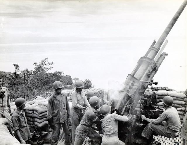 Marine Anti-Aircraft Gun, Tulagi, circa 1942