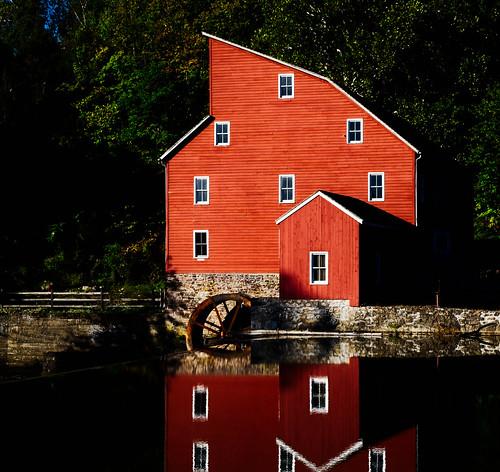 mill redmill historic nj southbranchoftheraritanriver architecture dawn reflection landscape clinton newjersey unitedstates us