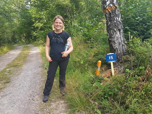 15 km-markören på etapp 4