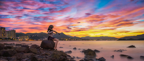 nikon d810 pcemicronikkor45mmf28ded longexposure sea city rock reflection sunset landscape red sky blue nature portrait art light clouds sun music violin dollfiedream volks doll ogatarina dd whitealbum ateens