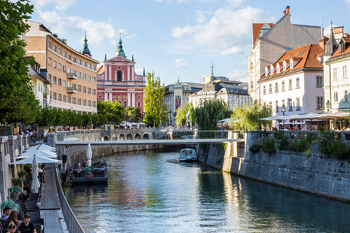 View of Ljubljana Center with Ljubljanica River, Ljubljana, Slovenia | by MedCruiseGuide.com
