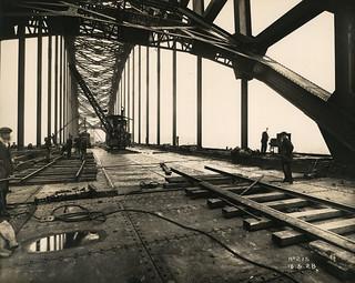 Tyne Bridge roadway under construction