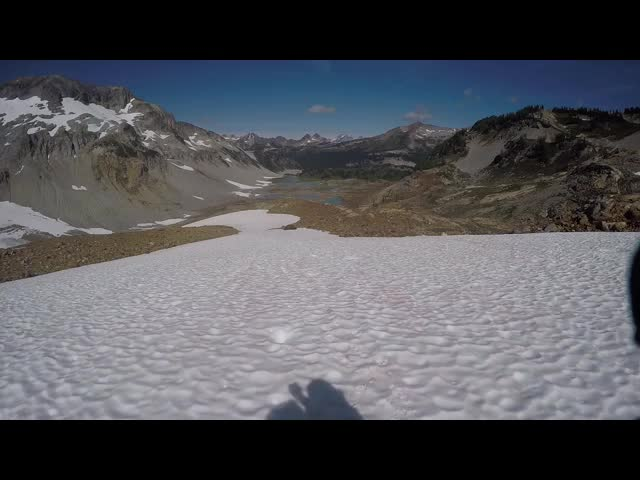 4777 GoPro video panorama as we climb the snowfield above the Lyman Lakes on the way to Spider Gap