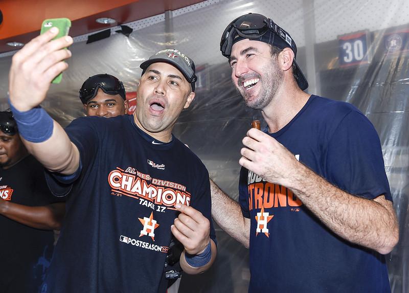 Justin Verlander(右)與Carlos Beltran(左)。(達志影像資料照)