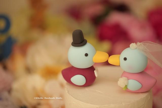 Handmade Korean Duck bride and groom custom Wedding Cake Topper