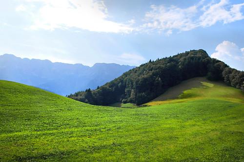 germany bavaria berchtesgadenerland mountains meadow sun clouds summer marktschellenberg untersberg mehlwiesen