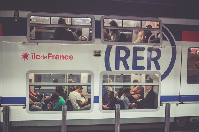 RER Train in Paris, France