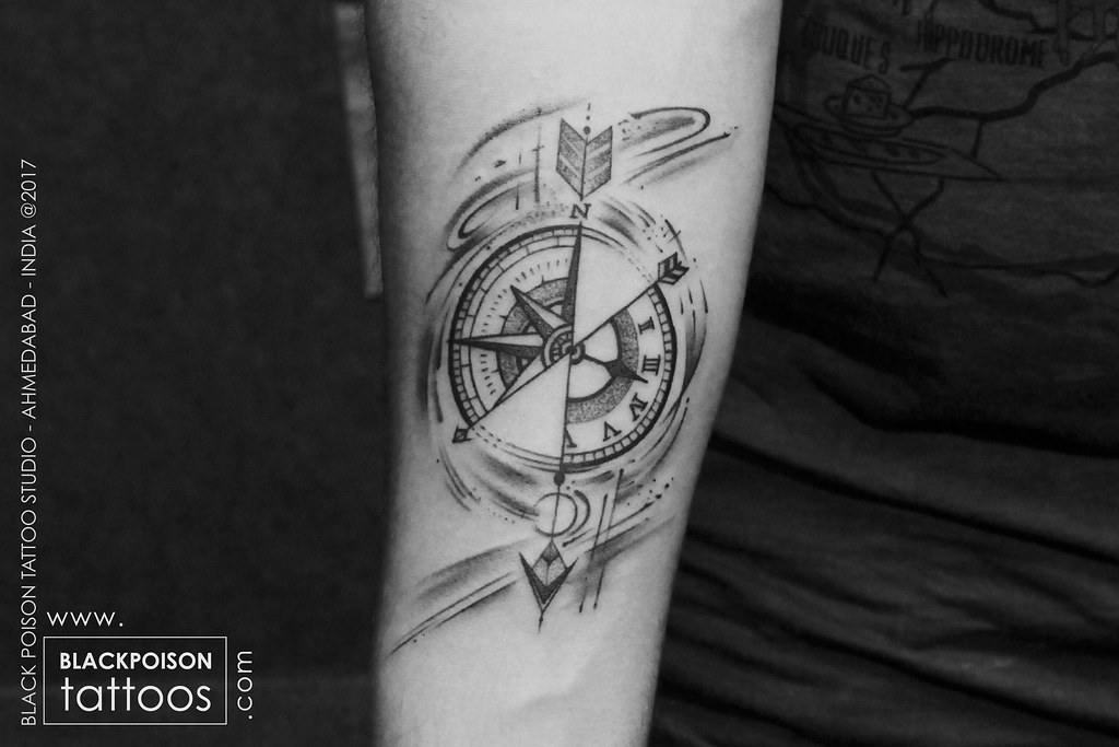 4437ec37c ... blackpoisontattoo Compass with arrow tattoo   by blackpoisontattoo