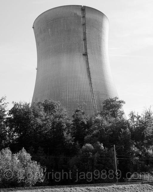 RHE307 Nuclear Power Plant on the Hochrhein River, Leibstadt, Canton Aargau, Switzerland