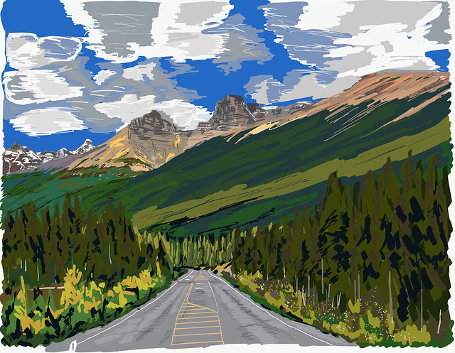 My Drawings - Banff National Park Icefields Parkway