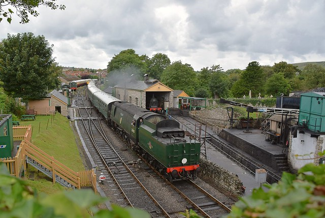 Southern Railways Battle of Britain Class Pacific Loco No.34070 'Manston' arrives at Swanage, with a service from Norden. Swanage Railway. 22 07 2017
