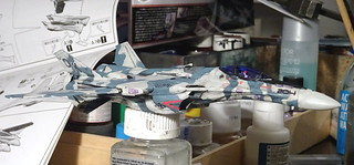 """1:100 Shinsei Industry VF-25F """"Messiah""""; 'OK 204' of the New U.N. Spacy (N.U.N.S.) SVFA-233 """"Cloudbusters""""; Windermere IV in the Brisingr Global Cluster, during the first Windermere War of Independence, 2060 (Macross Frontier Whif/Bandai kit)   by dizzyfugu"""