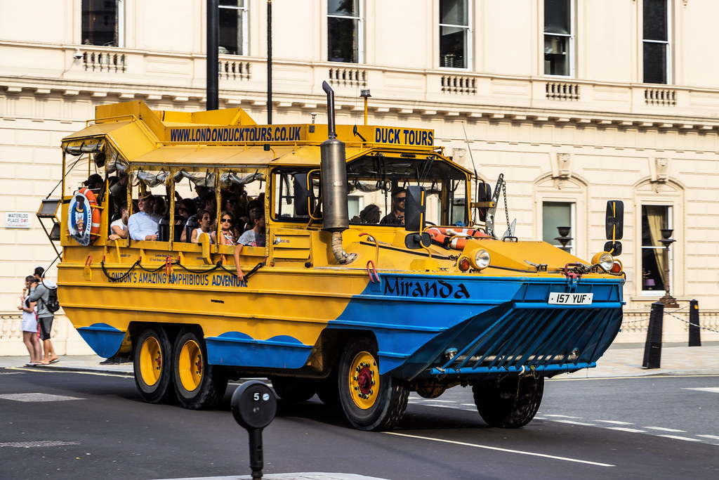 The Ducks, originally used in the Second World War, have been completely rebuilt from scratch and modified to meet the stringent safety regulations set by the road and river authorities.  Latest: 28/08/17 London Duck Tours will cease operating on 18 September, after losing access to Lacks Dock slipway on the Albert Embankment.