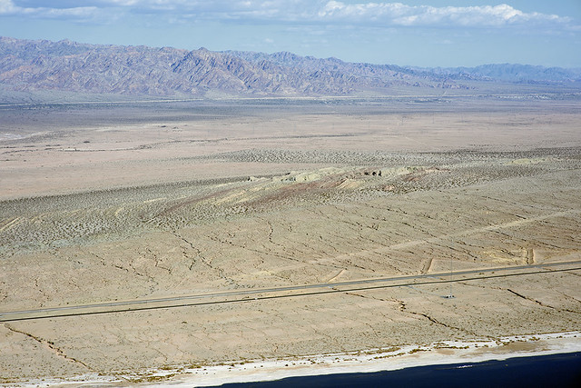 Aerial view of Bat Cave Buttes and the San Andreas Fault, Durmid Hill, Riverside and Imperial Counties, California