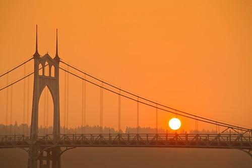 portlandoregon portland stjohnsbridge cathedralpark sunset smokey bridge summer jchoate oregon d610 on1pics