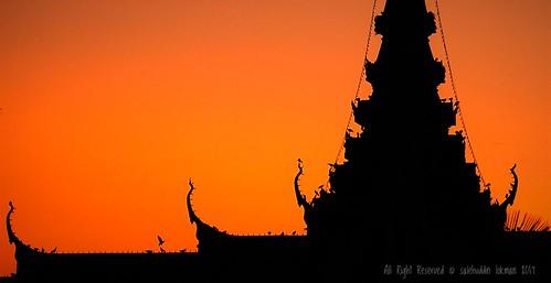 phnompenh cambodia palace king birds silhouette