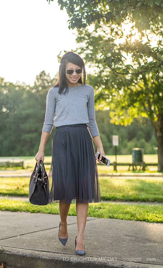 28fc76c79 ... light gray button back sweater, dark gray tulle midi skirt, gray suede  pumps,