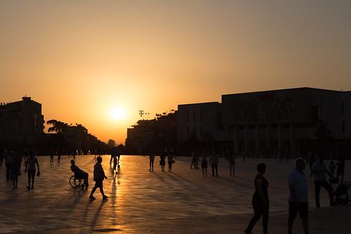 albania shqipëria tirana tiranë architecture people square sunset