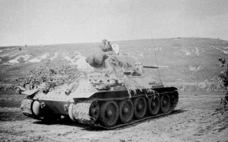 "Captured T-34 tank at the service of the division ""Das Reich"""