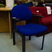 Blue fabric waiting chair with arms  E25