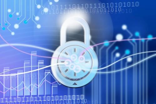 IT-Sicherheit Schloss mit binary Hintergrund digital   by Christoph Scholz
