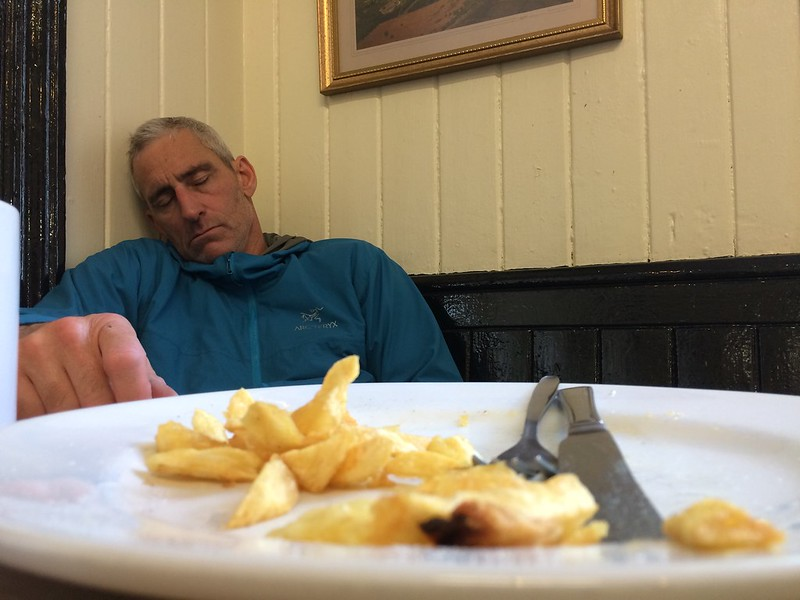 The after effects of grit climbing for the day. Chip butty eater: Miles Bright