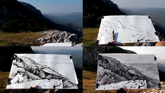 2017.08.12 - drawing CHATYR-DAG AND THE ANGARA VALLEY
