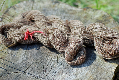 Two handspun skeins from Ent Batts by irieknit in Coffee & Cream handcarded fibre