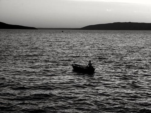 boat sea sunset bw boy fishing thoughts lighthouse cres croatia hrvatska lumix lumixgx7