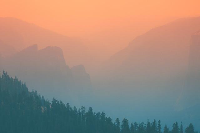 Wildfire Haze. Yosemite National Park, USA