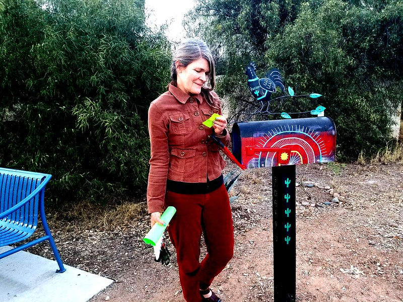 Elizabeth Salper pulling a poem out of the Poetry Mailbox along the Treat Walkway. (Urban Poetry Pollinators)