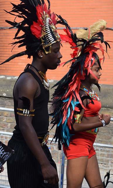 DSC_2676a Notting Hill Caribbean Carnival London Exotic Colourful Red Costume Showgirl Performer Aug 28 2017 Stunning Petite Lady