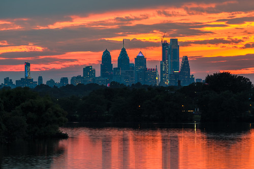color sunset water cooperriver city cityscape orange clouds river philly skyscrapers fiery sky sundown dusk skyline philadelphia reflections camden newjersey unitedstates us nikon d800e