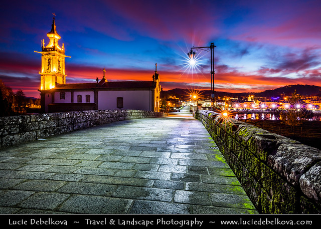 Portugal - North Region - Ponte de Lima & its medieval bridge during Dawn - Twilight - Sunrise