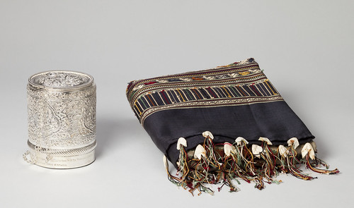 Silk Shawl and Silver Rice Container
