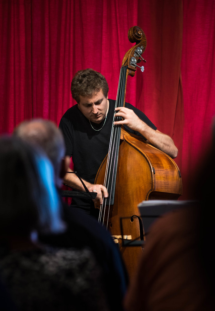Thomas Fonnesbæk, bassist in Copenhagen Jazzfestival 2017 - Lars Jansson Trio with Hans Ulrik, tenorsax at The Cafe