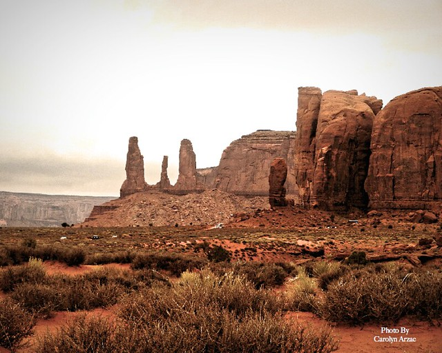 Three Sisters Rock Formation-Monument Valley